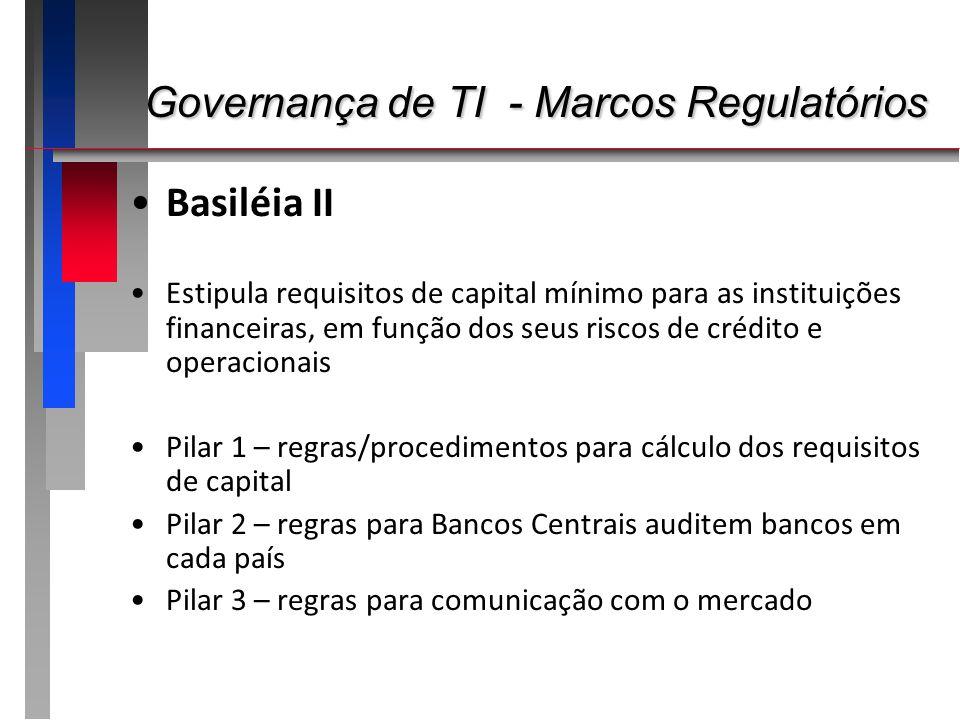 Governança de TI - Marcos Regulatórios Governança de TI - Marcos Regulatórios Basiléia II Estipula requisitos de capital mínimo para as instituições f