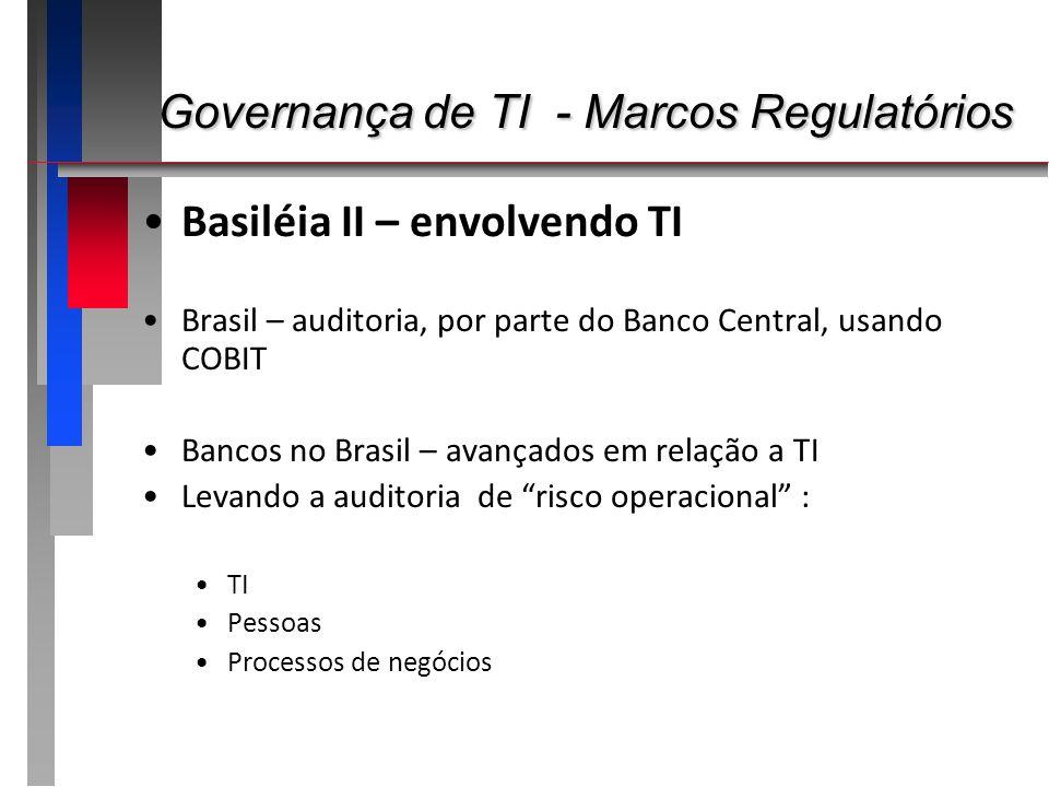 Governança de TI - Marcos Regulatórios Governança de TI - Marcos Regulatórios Basiléia II – envolvendo TI Brasil – auditoria, por parte do Banco Centr