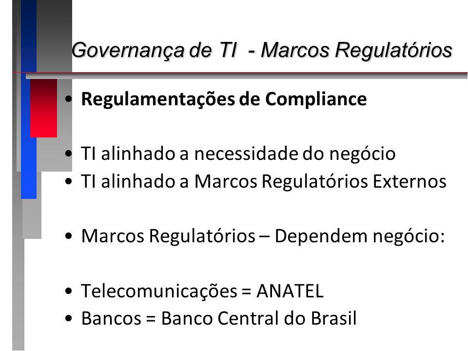Governança de TI - Marcos Regulatórios Governança de TI - Marcos Regulatórios Regulamentações de Compliance TI alinhado a necessidade do negócio TI al