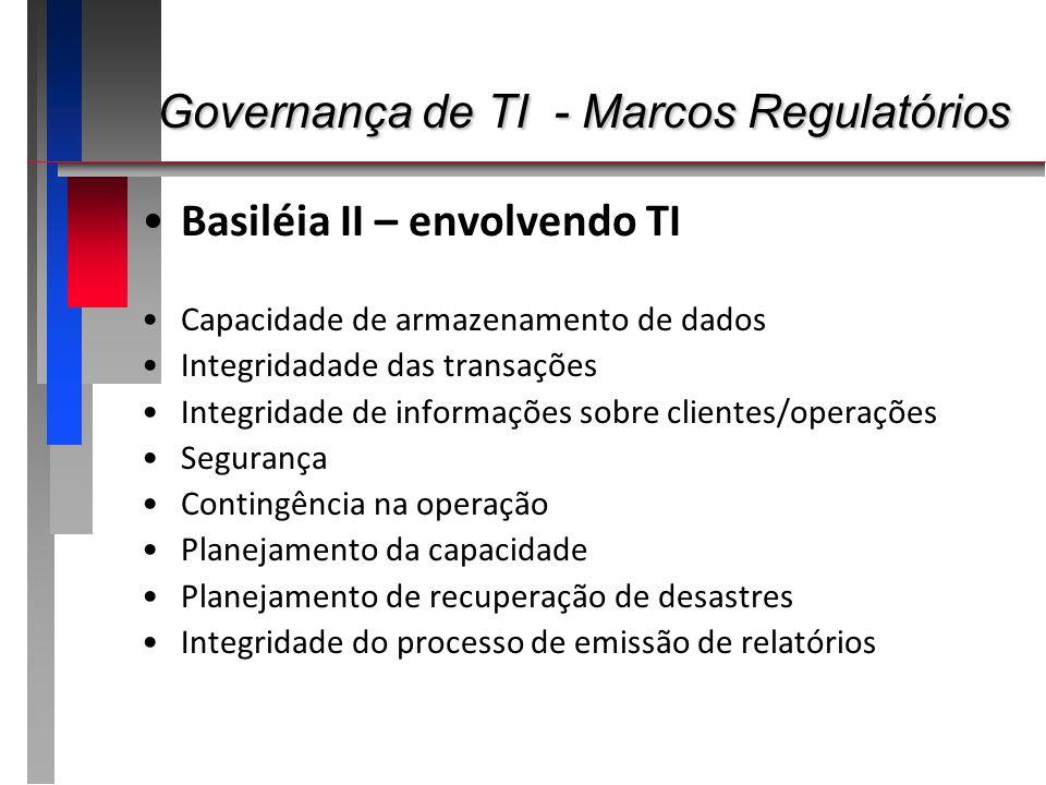Governança de TI - Marcos Regulatórios Governança de TI - Marcos Regulatórios Basiléia II – envolvendo TI Capacidade de armazenamento de dados Integri
