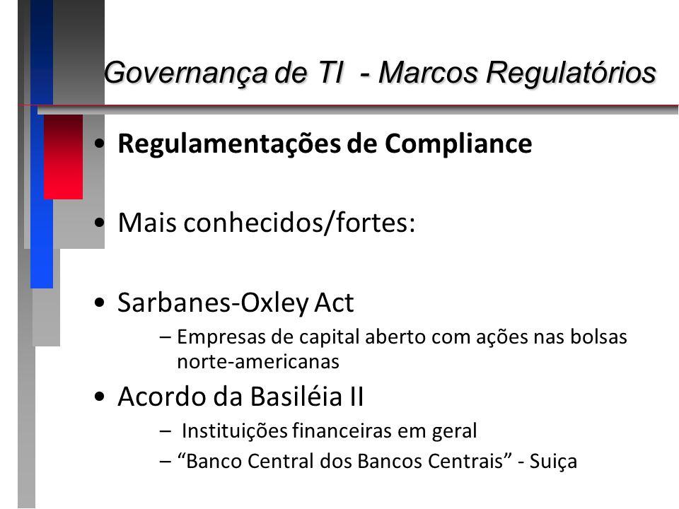 Governança de TI - Marcos Regulatórios Governança de TI - Marcos Regulatórios Regulamentações de Compliance Mais conhecidos/fortes: Sarbanes-Oxley Act
