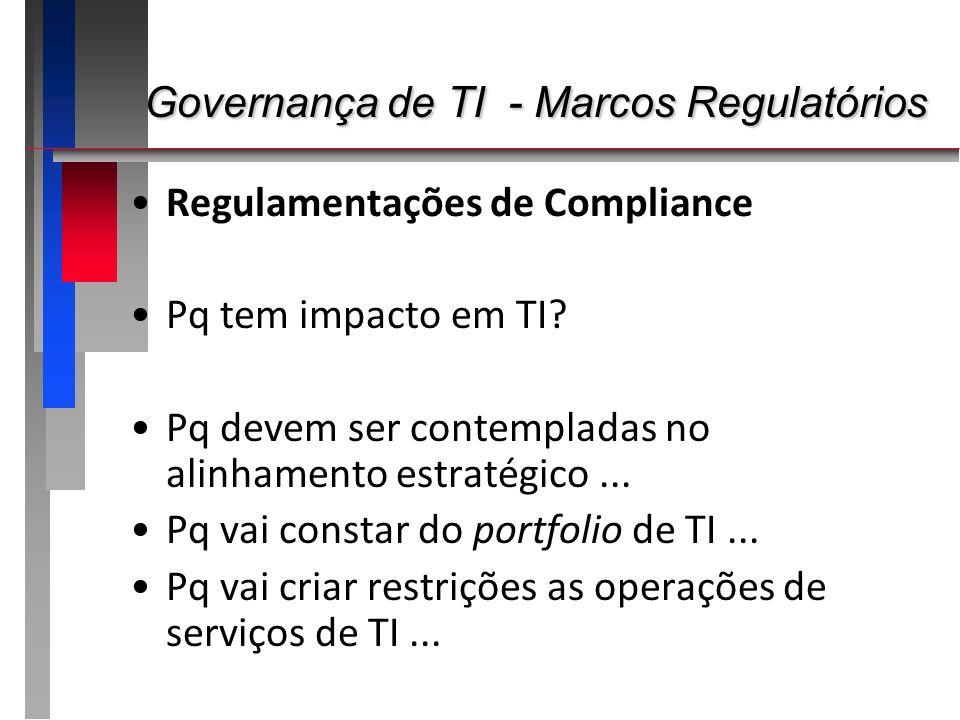 Governança de TI - Marcos Regulatórios Governança de TI - Marcos Regulatórios Regulamentações de Compliance Pq tem impacto em TI? Pq devem ser contemp