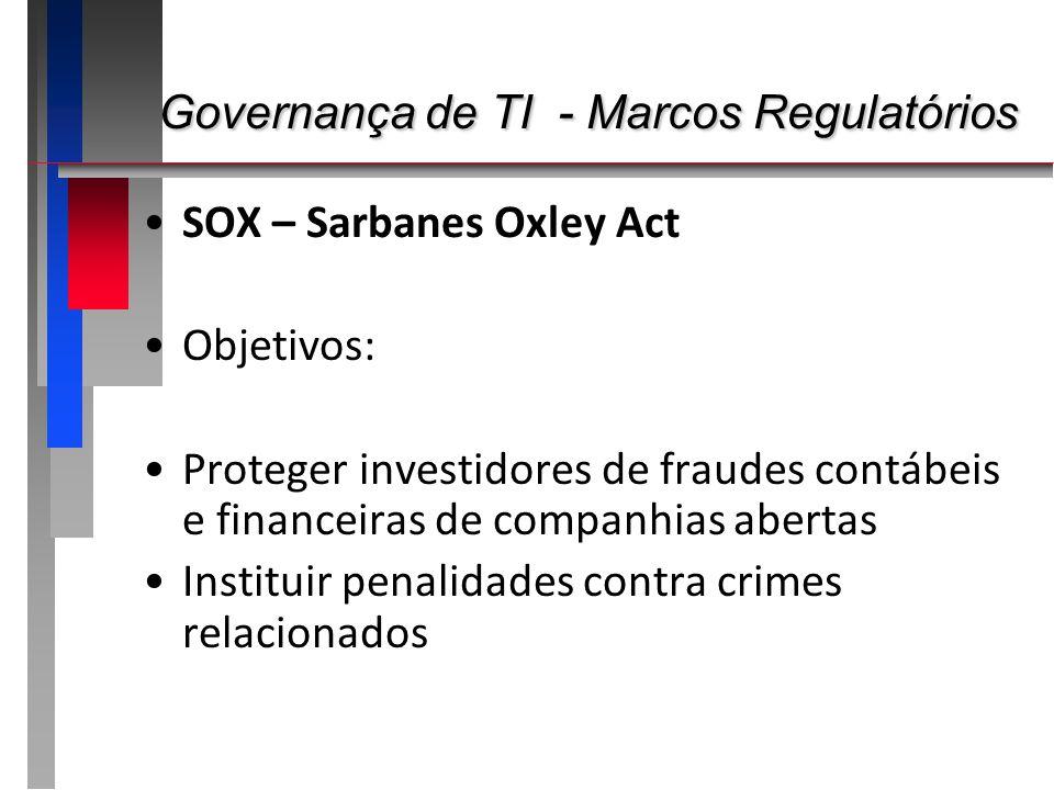 Governança de TI - Marcos Regulatórios Governança de TI - Marcos Regulatórios SOX – Sarbanes Oxley Act Objetivos: Proteger investidores de fraudes con