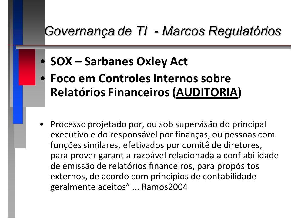 Governança de TI - Marcos Regulatórios Governança de TI - Marcos Regulatórios SOX – Sarbanes Oxley Act Foco em Controles Internos sobre Relatórios Fin