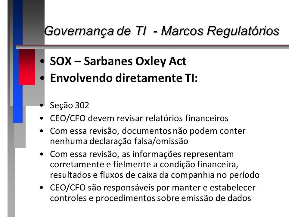 Governança de TI - Marcos Regulatórios Governança de TI - Marcos Regulatórios SOX – Sarbanes Oxley Act Envolvendo diretamente TI: Seção 302 CEO/CFO de