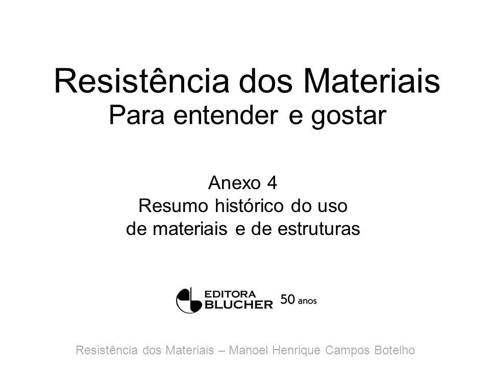 Resistência dos Materiais Para entender e gostar Anexo 4 Resumo histórico do uso de materiais e de estruturas Resistência dos Materiais – Manoel Henri
