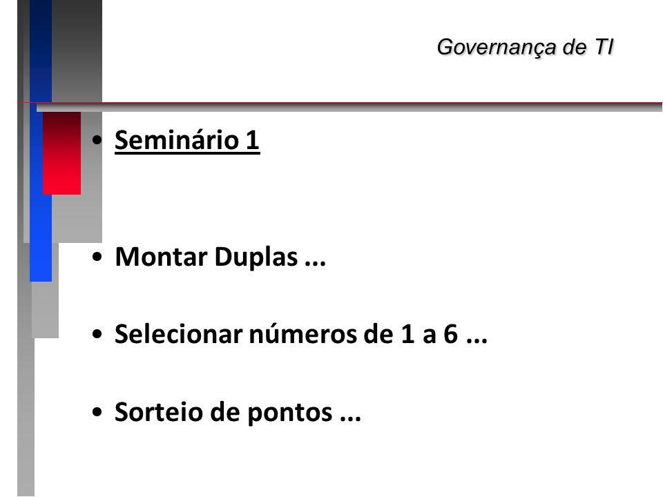 Governança de TI Governança de TI Seminário 1 Montar Duplas... Selecionar números de 1 a 6... Sorteio de pontos...