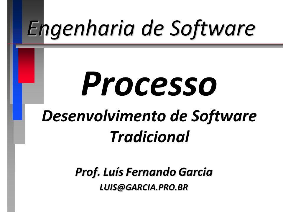 Processo Desenvolvimento de Software Tradicional Prof. Luís Fernando Garcia LUIS@GARCIA.PRO.BR Engenharia de Software