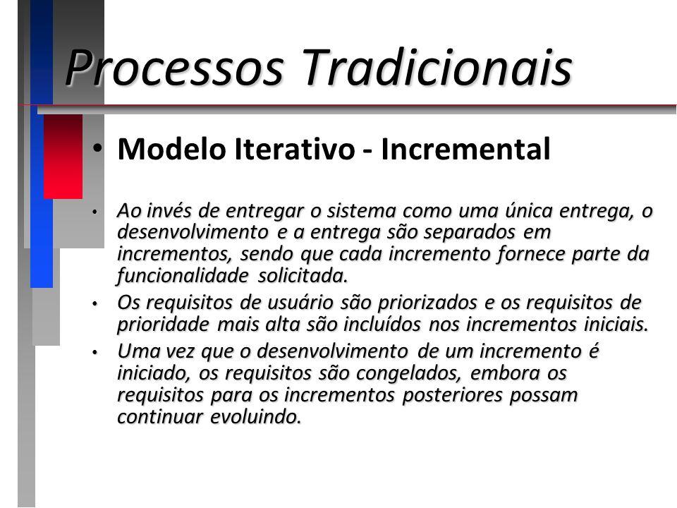 Processos Tradicionais Modelo Iterativo - Incremental Ao invés de entregar o sistema como uma única entrega, o desenvolvimento e a entrega são separad