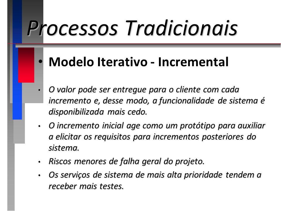 Processos Tradicionais Modelo Iterativo - Incremental O valor pode ser entregue para o cliente com cada incremento e, desse modo, a funcionalidade de