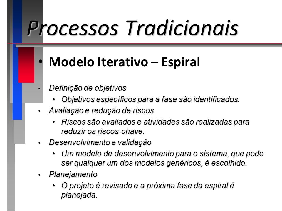 Processos Tradicionais Modelo Iterativo – Espiral Definição de objetivos Definição de objetivos Objetivos específicos para a fase são identificados.Ob