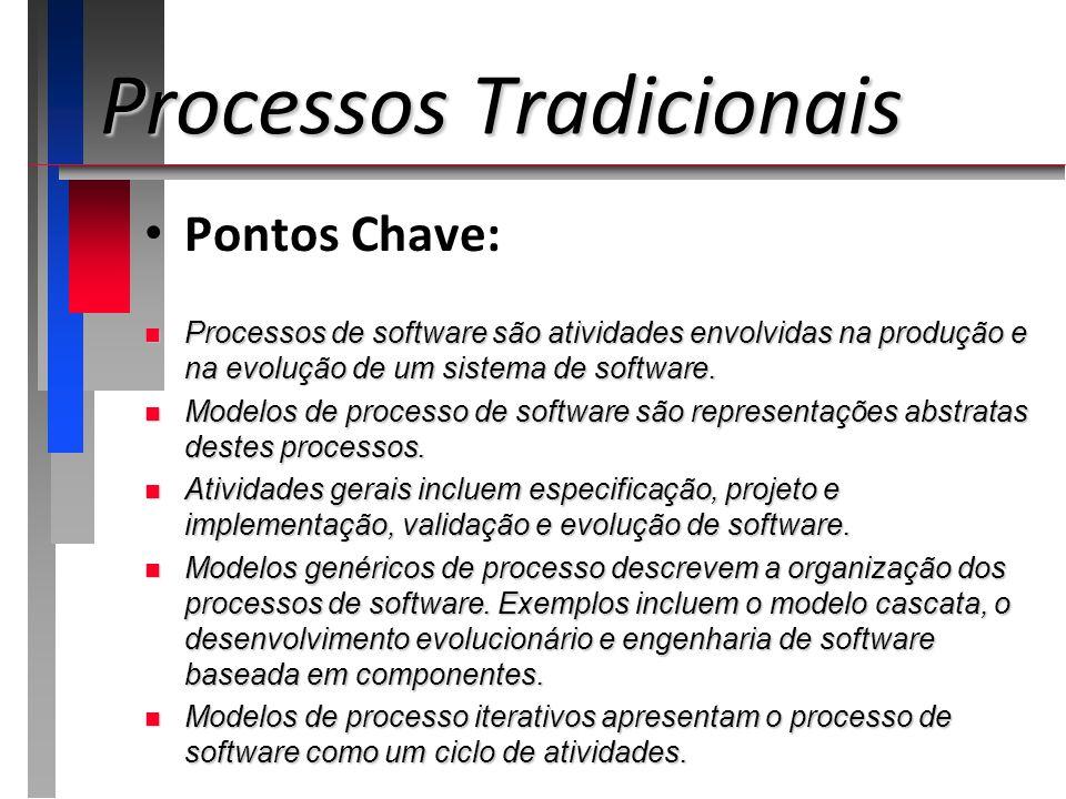 Pontos Chave: n Processos de software são atividades envolvidas na produção e na evolução de um sistema de software. n Modelos de processo de software
