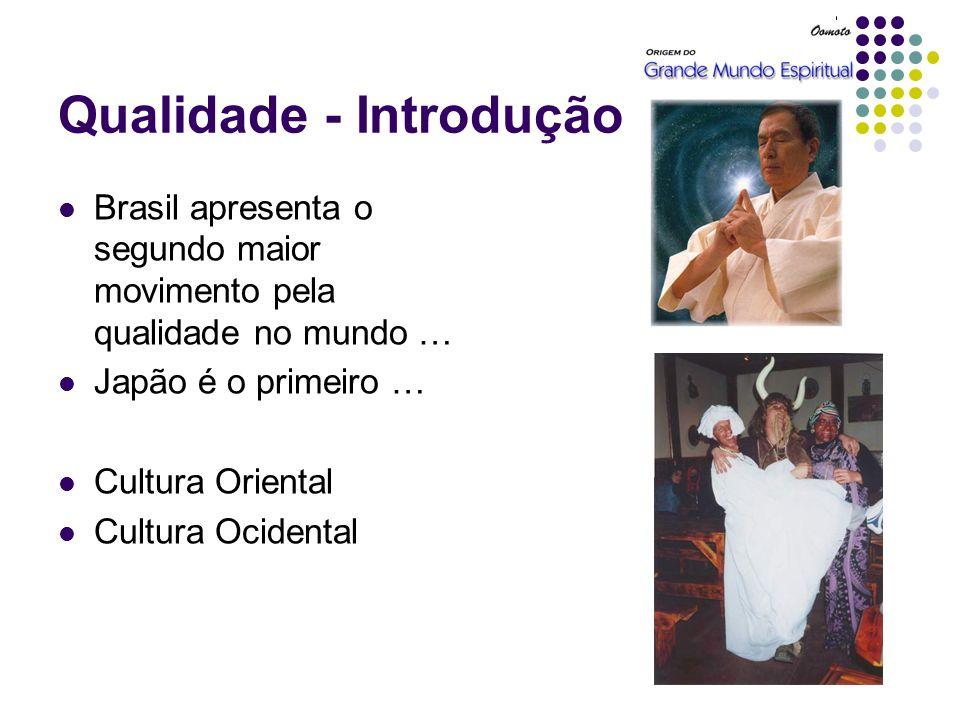 Qualidade - Introdução Brasil apresenta o segundo maior movimento pela qualidade no mundo … Japão é o primeiro … Cultura Oriental Cultura Ocidental