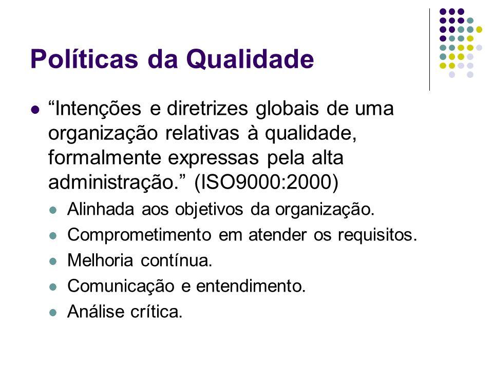 Políticas da Qualidade Intenções e diretrizes globais de uma organização relativas à qualidade, formalmente expressas pela alta administração. (ISO900