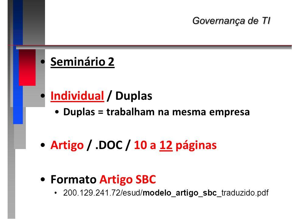 Governança de TI Governança de TI Seminário 2 Individual / Duplas Duplas = trabalham na mesma empresa Artigo /.DOC / 10 a 12 páginas Formato Artigo SB