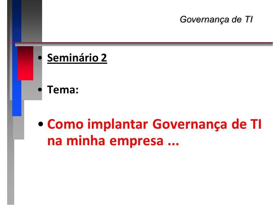 Governança de TI Governança de TI Seminário 2 Tema: Como implantar Governança de TI na minha empresa...