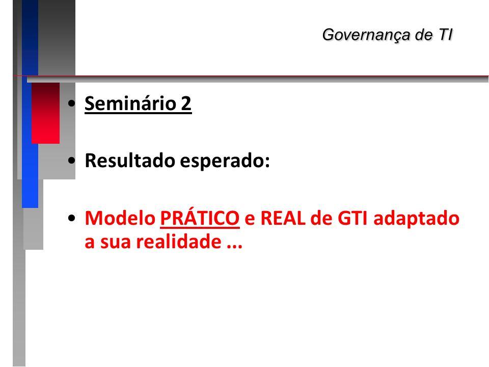 Governança de TI Governança de TI Seminário 2 Resultado esperado: Modelo PRÁTICO e REAL de GTI adaptado a sua realidade...