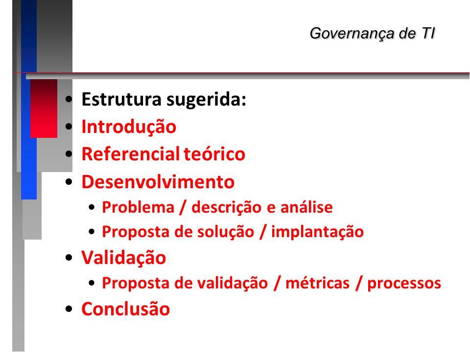 Governança de TI Governança de TI Estrutura sugerida: Introdução Referencial teórico Desenvolvimento Problema / descrição e análise Proposta de soluçã