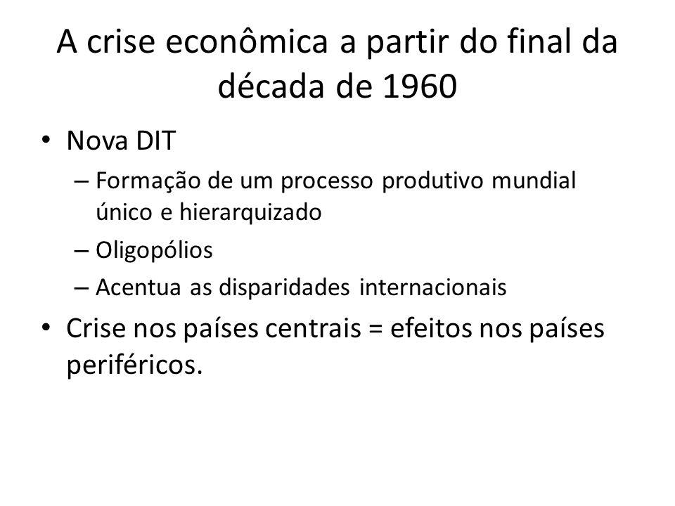 A crise econômica a partir do final da década de 1960 Nova DIT – Formação de um processo produtivo mundial único e hierarquizado – Oligopólios – Acent