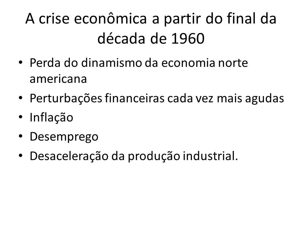 A crise econômica a partir do final da década de 1960 Perda do dinamismo da economia norte americana Perturbações financeiras cada vez mais agudas Inf
