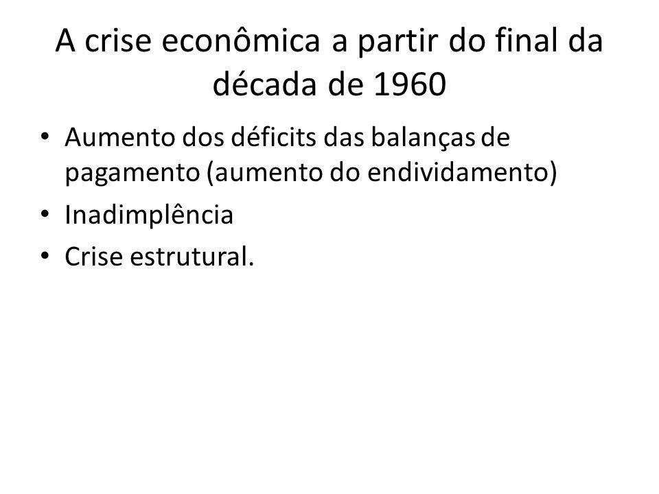 A crise econômica a partir do final da década de 1960 Aumento dos déficits das balanças de pagamento (aumento do endividamento) Inadimplência Crise es