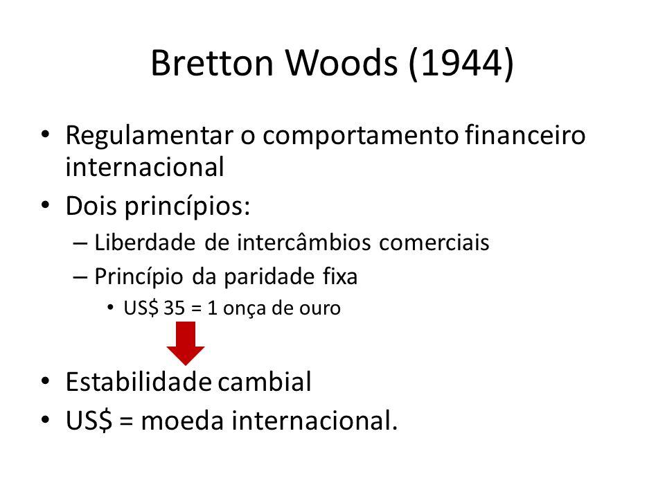Bretton Woods (1944) Regulamentar o comportamento financeiro internacional Dois princípios: – Liberdade de intercâmbios comerciais – Princípio da pari