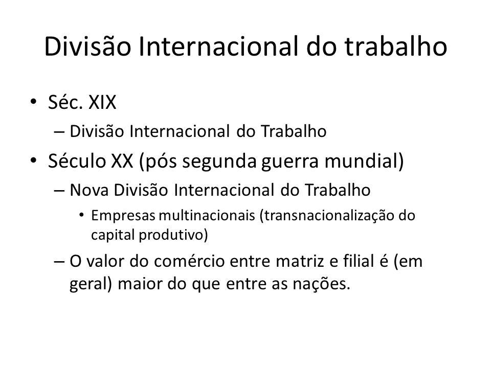 Divisão Internacional do trabalho Séc. XIX – Divisão Internacional do Trabalho Século XX (pós segunda guerra mundial) – Nova Divisão Internacional do