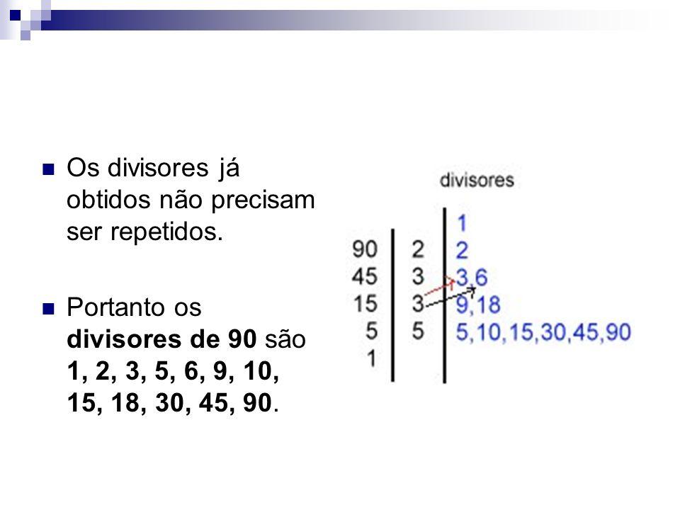 Os divisores já obtidos não precisam ser repetidos. Portanto os divisores de 90 são 1, 2, 3, 5, 6, 9, 10, 15, 18, 30, 45, 90.