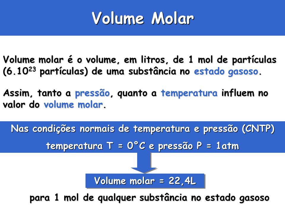 Volume Molar Volume molar é o volume, em litros, de 1 mol de partículas (6.10 23 partículas) de uma substância no estado gasoso. Assim, tanto a pressã