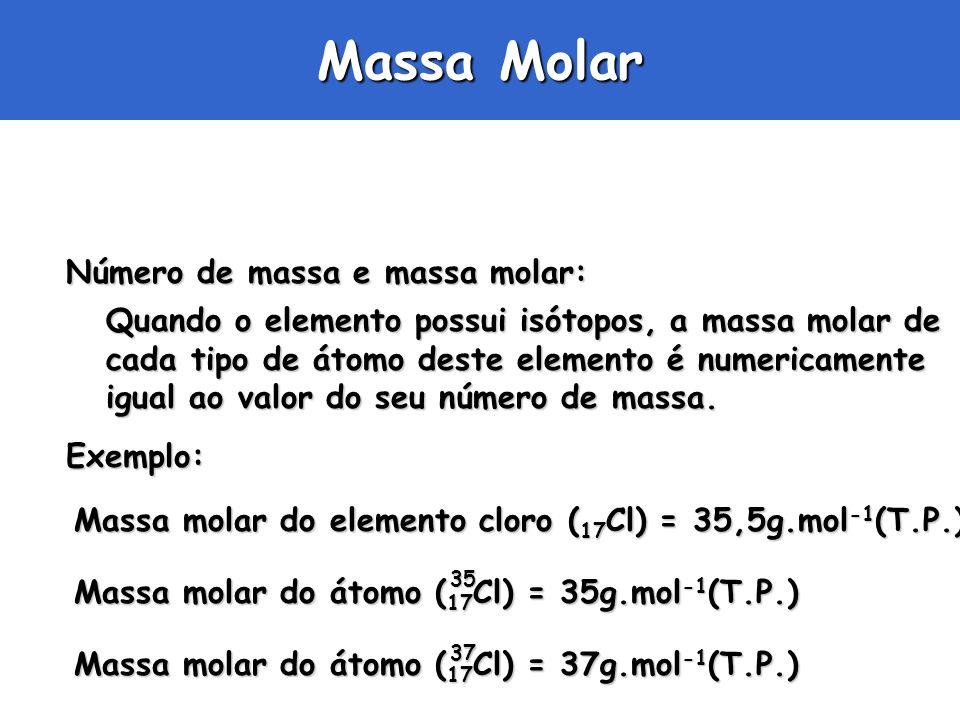 Exemplo: Massa Molar Número de massa e massa molar: Quando o elemento possui isótopos, a massa molar de cada tipo de átomo deste elemento é numericame