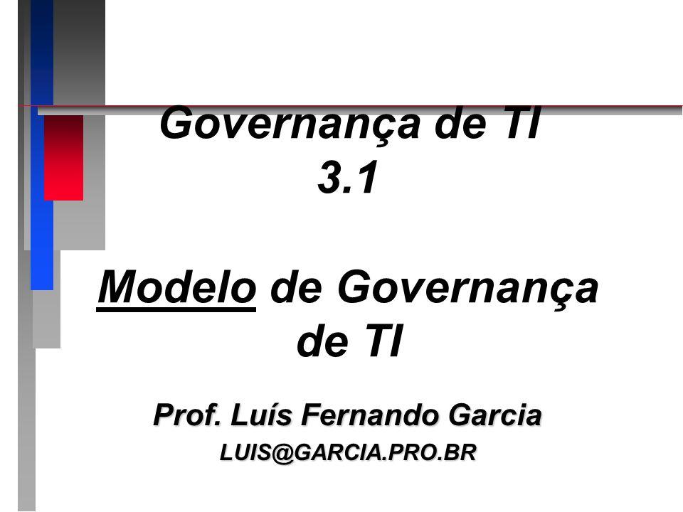 Governança de TI 3.1 Modelo de Governança de TI Prof. Luís Fernando Garcia LUIS@GARCIA.PRO.BR
