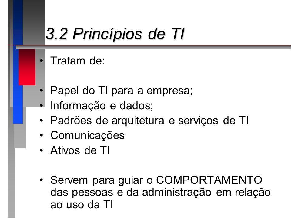 3.2 Princípios de TI 3.2 Princípios de TI Tratam de: Papel do TI para a empresa; Informação e dados; Padrões de arquitetura e serviços de TI Comunicaç