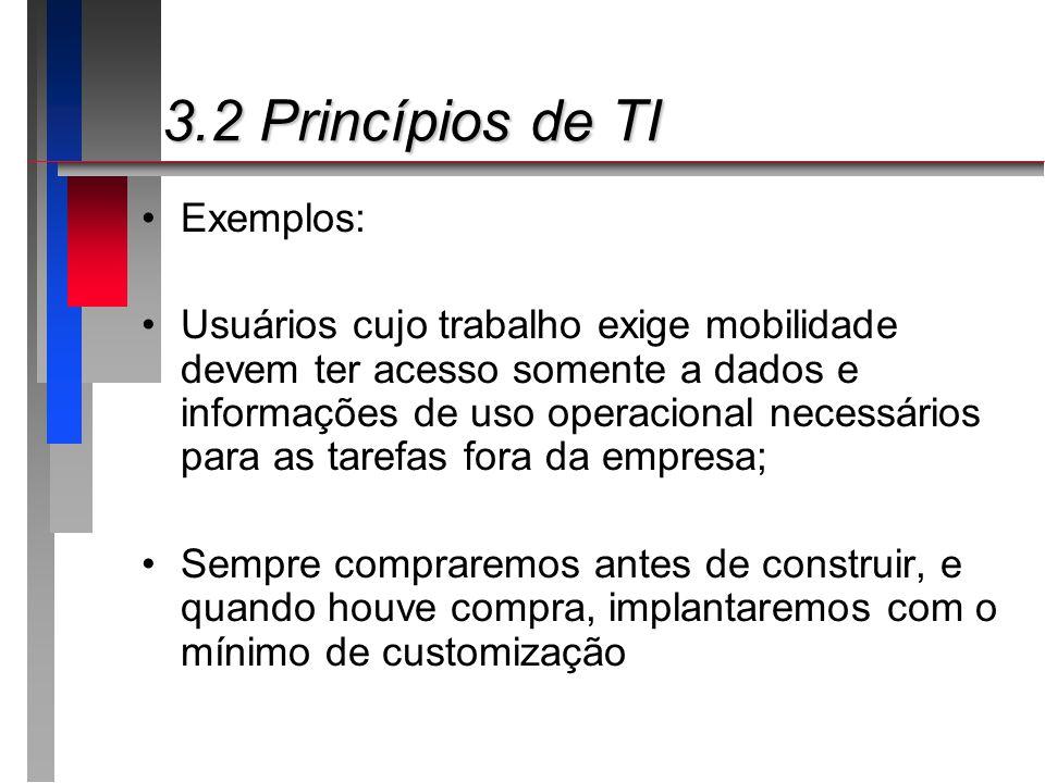 3.2 Princípios de TI 3.2 Princípios de TI Exemplos: Usuários cujo trabalho exige mobilidade devem ter acesso somente a dados e informações de uso oper
