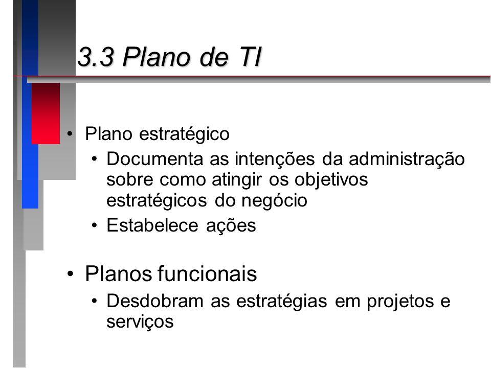 3.3 Plano de TI 3.3 Plano de TI Plano estratégico Documenta as intenções da administração sobre como atingir os objetivos estratégicos do negócio Esta
