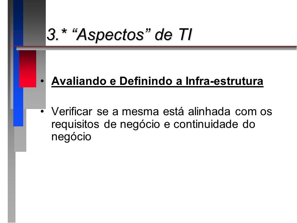 3.* Aspectos de TI 3.* Aspectos de TI Avaliando e Definindo a Infra-estrutura Verificar se a mesma está alinhada com os requisitos de negócio e contin