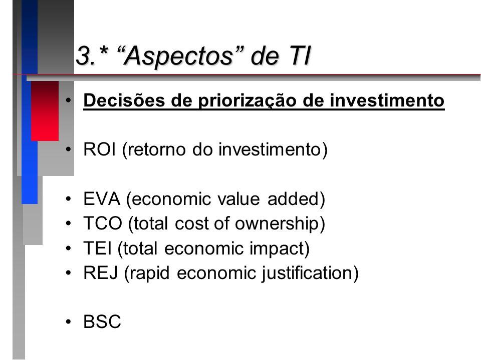 3.* Aspectos de TI 3.* Aspectos de TI Decisões de priorização de investimento ROI (retorno do investimento) EVA (economic value added) TCO (total cost