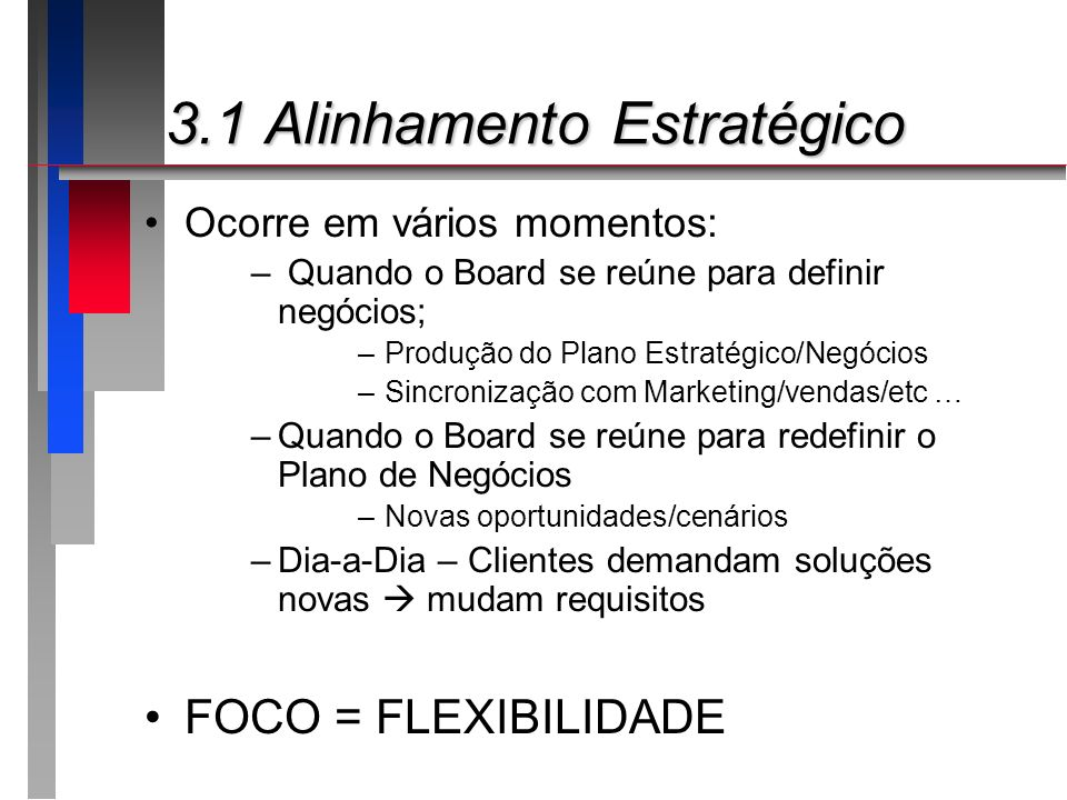 3.* Aspectos de TI 3.* Aspectos de TI Decisões de priorização de investimento ROI (retorno do investimento) EVA (economic value added) TCO (total cost of ownership) TEI (total economic impact) REJ (rapid economic justification) BSC
