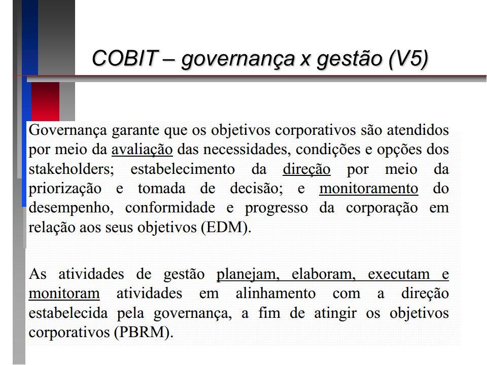 COBIT – governança x gestão (V5) COBIT – governança x gestão (V5)