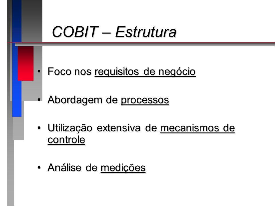 COBIT – Estrutura COBIT – Estrutura Foco nos requisitos de negócioFoco nos requisitos de negócio Abordagem de processosAbordagem de processos Utilizaç