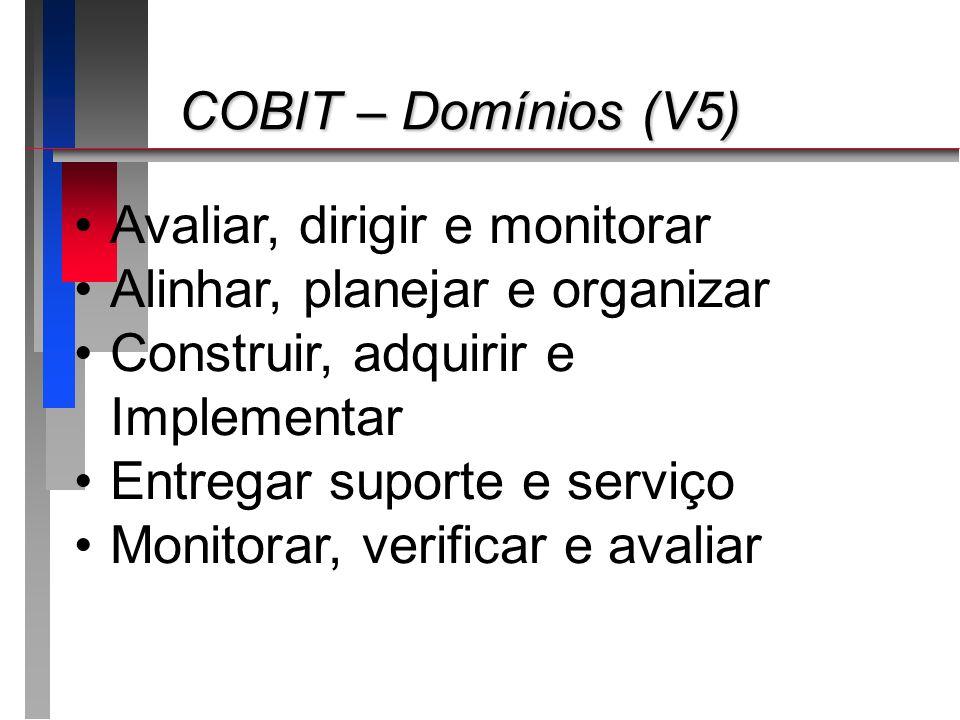 COBIT – Domínios (V5) COBIT – Domínios (V5) Avaliar, dirigir e monitorar Alinhar, planejar e organizar Construir, adquirir e Implementar Entregar supo