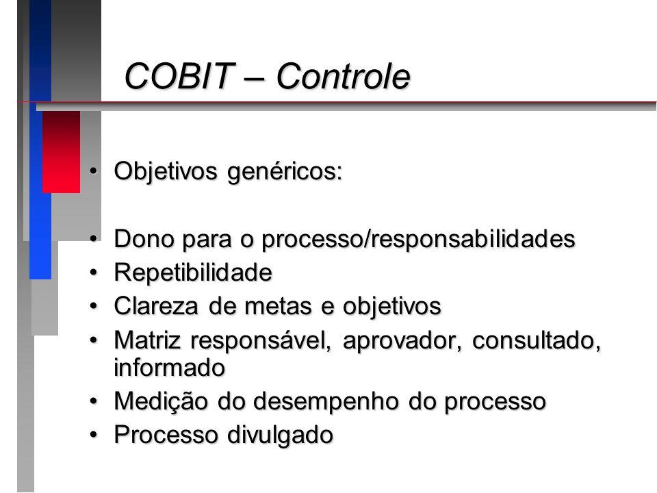 COBIT – Controle COBIT – Controle Objetivos genéricos:Objetivos genéricos: Dono para o processo/responsabilidadesDono para o processo/responsabilidade