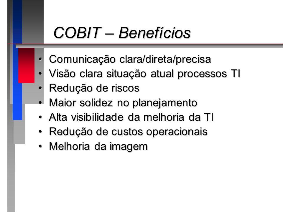 COBIT – Benefícios COBIT – Benefícios Comunicação clara/direta/precisaComunicação clara/direta/precisa Visão clara situação atual processos TIVisão cl