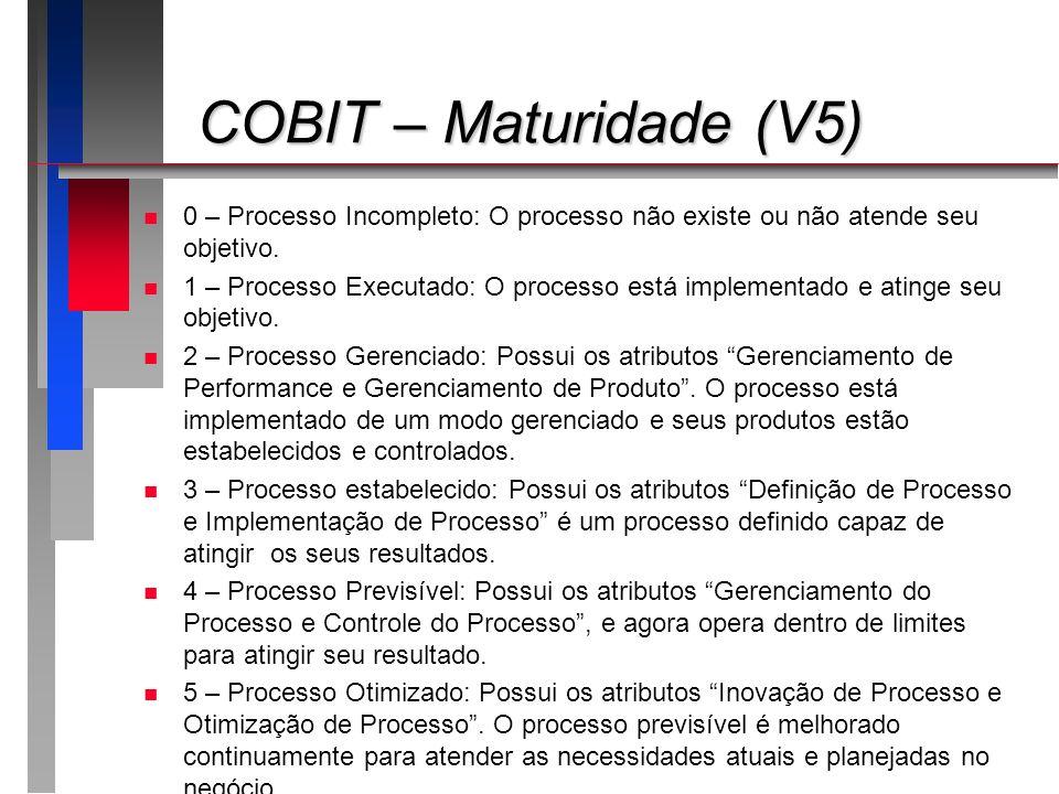 COBIT – Maturidade (V5) COBIT – Maturidade (V5) n n 0 – Processo Incompleto: O processo não existe ou não atende seu objetivo. n n 1 – Processo Execut