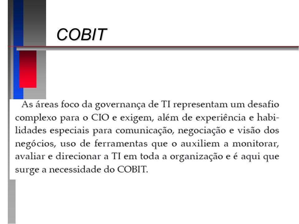 COBIT - versões COBIT - versões 19961996 Objetivos de controle para aplicações de negóciosObjetivos de controle para aplicações de negócios 1998 – segunda versão1998 – segunda versão (+) Ferramenta de suporte a Implementação(+) Ferramenta de suporte a Implementação 2000 – terceira versão2000 – terceira versão (+) Normas e guias para gestão(+) Normas e guias para gestão 2005 – quarta versão2005 – quarta versão (+) Melhoria dos controles/Segurança e ativos(+) Melhoria dos controles/Segurança e ativos 2007 – 4.12007 – 4.1 2010 – 4.1 em Língua Portuguesa2010 – 4.1 em Língua Portuguesa 2012/abril – 5.0 (ainda somente em Inglês)2012/abril – 5.0 (ainda somente em Inglês)