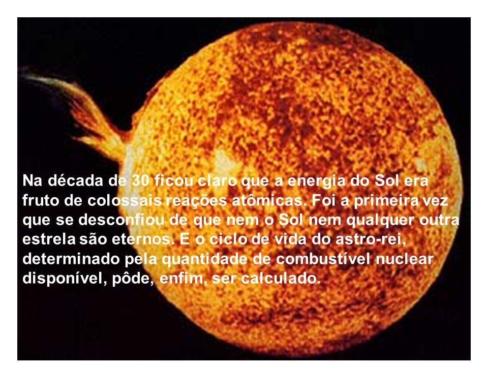 Na década de 30 ficou claro que a energia do Sol era fruto de colossais reações atômicas. Foi a primeira vez que se desconfiou de que nem o Sol nem qu