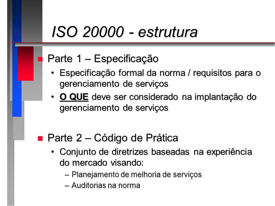 ISO 20000 - estrutura ISO 20000 - estrutura n Parte 1 – Especificação Especificação formal da norma / requisitos para o gerenciamento de serviçosEspec