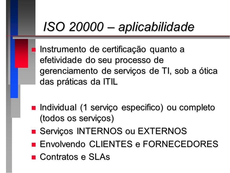 ISO 20000 – aplicabilidade ISO 20000 – aplicabilidade n Instrumento de certificação quanto a efetividade do seu processo de gerenciamento de serviços