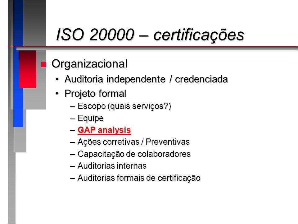 ISO 20000 – certificações ISO 20000 – certificações n Organizacional Auditoria independente / credenciadaAuditoria independente / credenciada Projeto