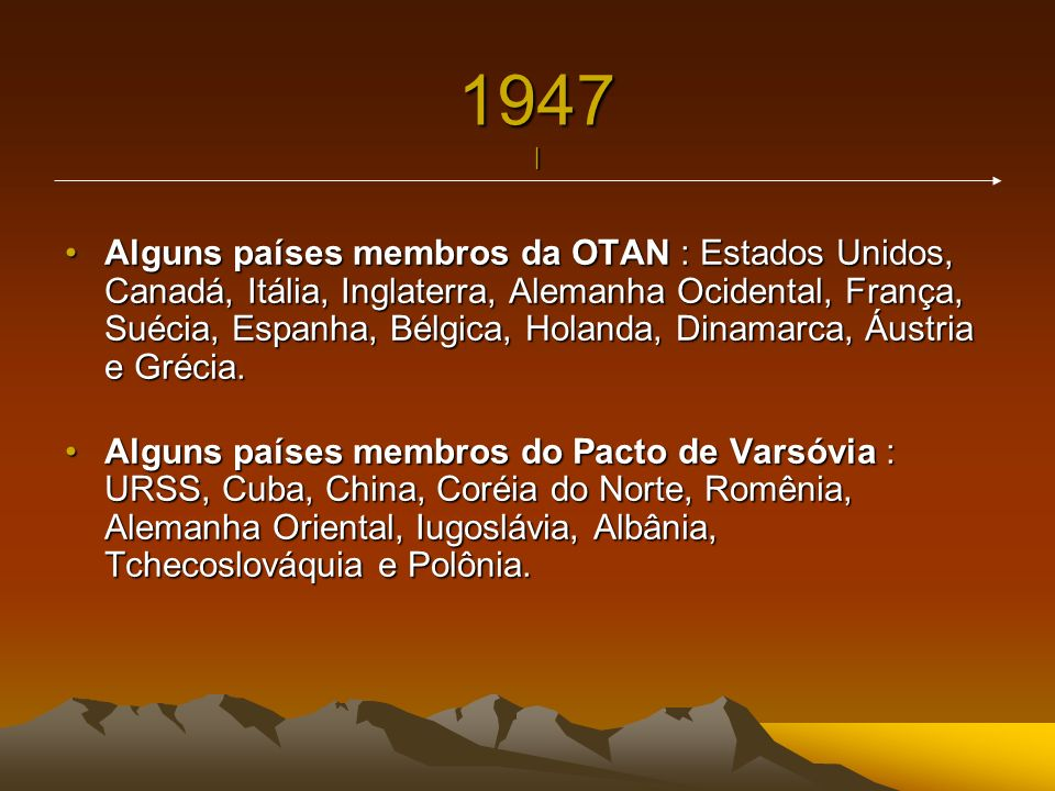 1947 | Alguns países membros da OTAN : Estados Unidos, Canadá, Itália, Inglaterra, Alemanha Ocidental, França, Suécia, Espanha, Bélgica, Holanda, Dina