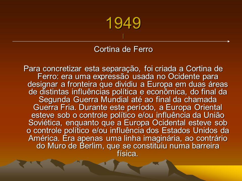 1949 | Cortina de Ferro Para concretizar esta separação, foi criada a Cortina de Ferro: era uma expressão usada no Ocidente para designar a fronteira